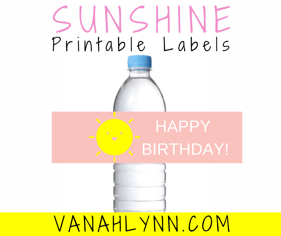 sunshine themed water bottle label for girl birthday party