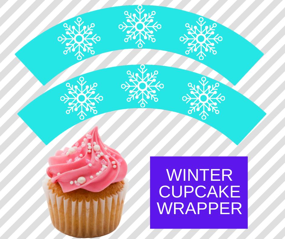free printable winter cupcake wrapper
