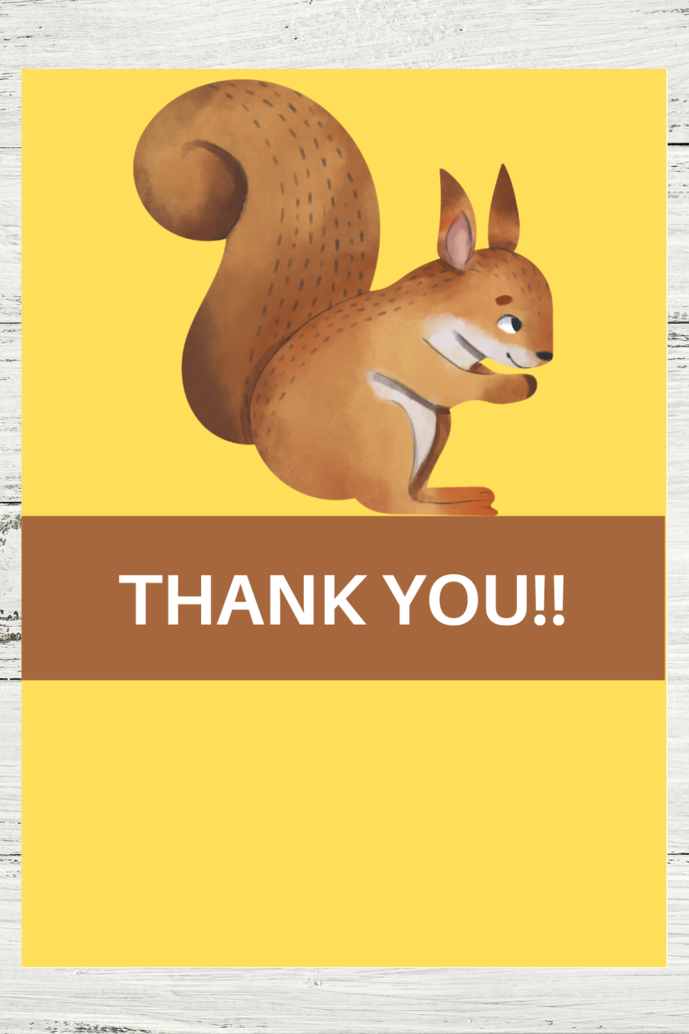 free printable rustic animal thank you note for birthday party