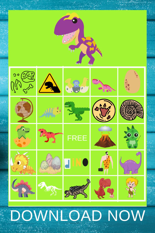 dinosaur BINGO game for a 1st birthday party