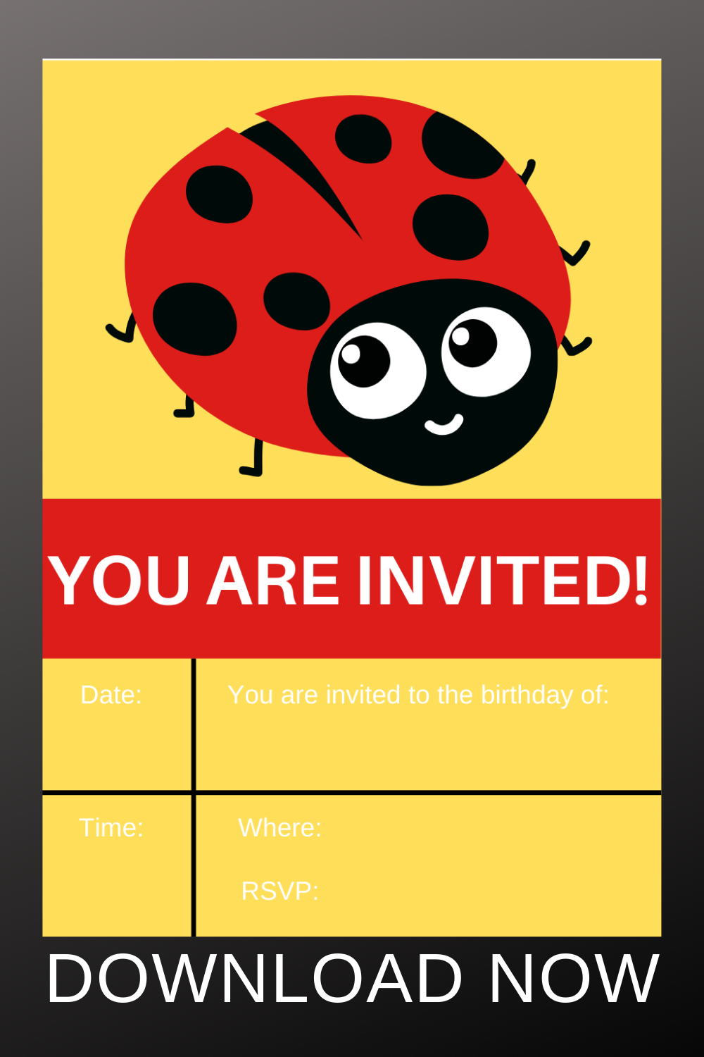 free download: ladybug invitations for a toddlers birthday party