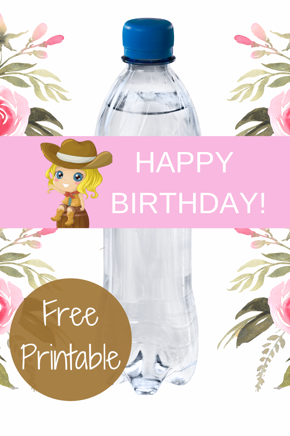 free download: cowgirl printable water bottle label for a birthday party