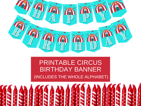 Circus Themed Happy Birthday Banner and Circus Alphabet Banner | Circus Birthday Party Decorations