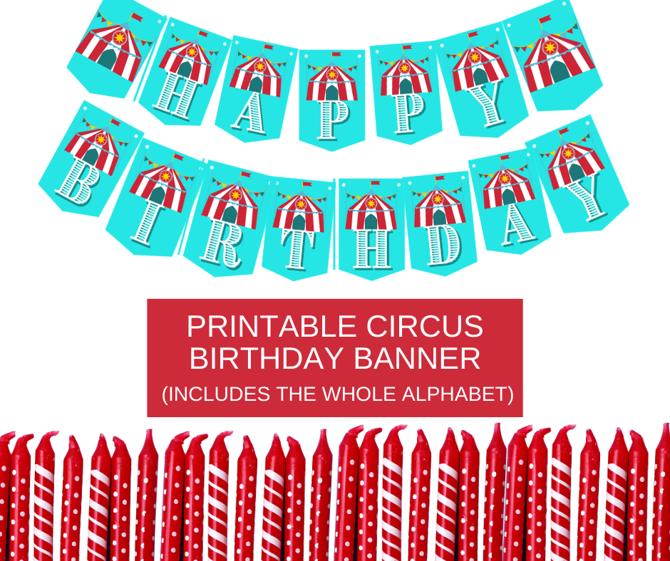 Circus themed birthday banner, says happy birthday