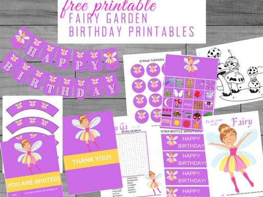 FREE Fairy Garden Themed Birthday Party Printables