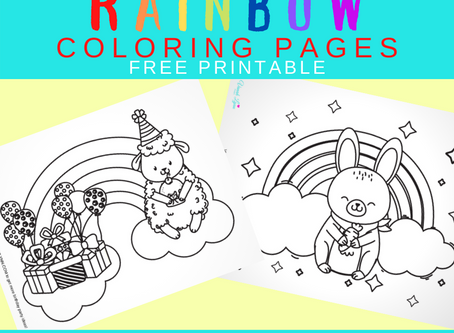 Rainbow Themed Coloring Pages | Freebie