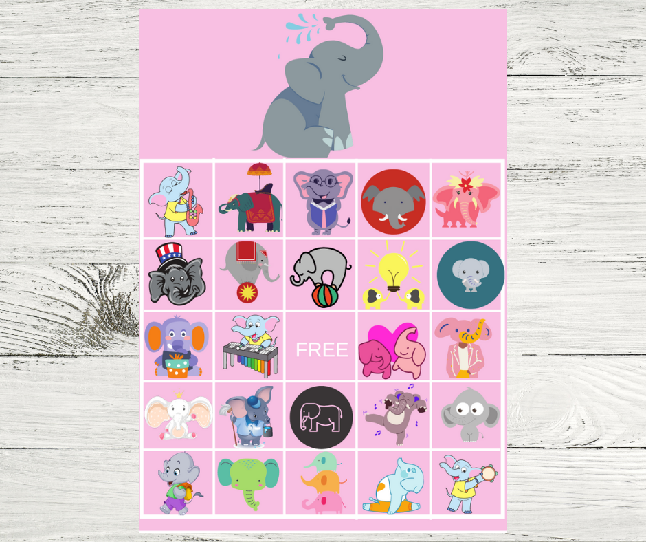 elephant themed bingo game for a toddler girl birthday party