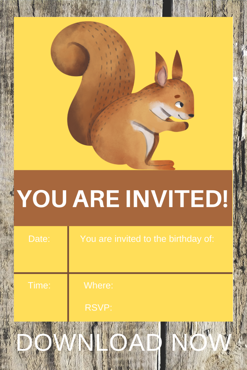 free download: woodland themed birthday party invite