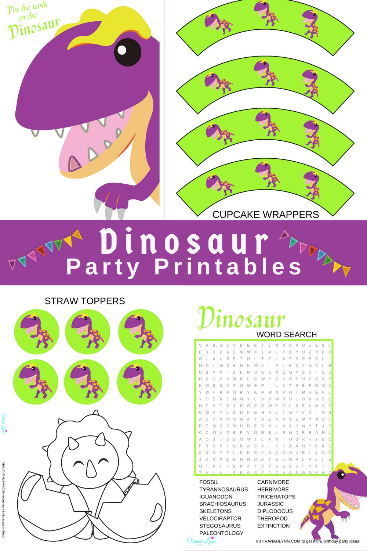 dinosaur themed birthday party pack for kids birthday