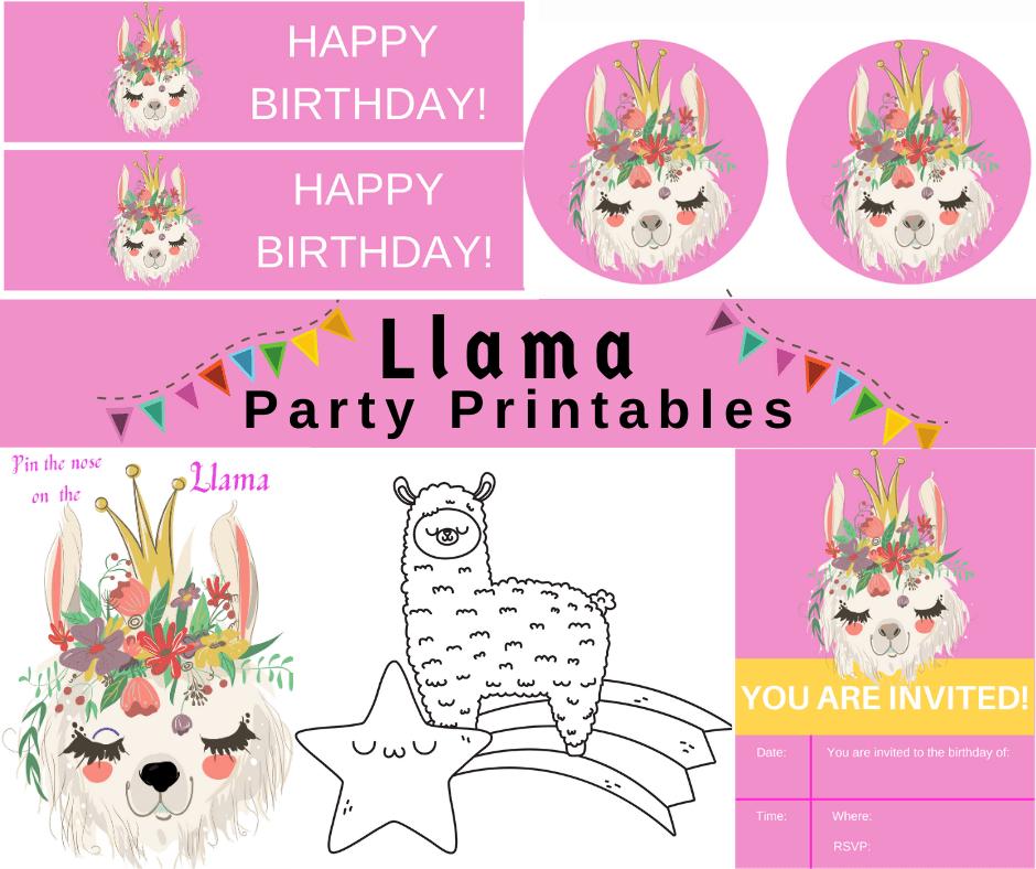 llama birthday party theme printables