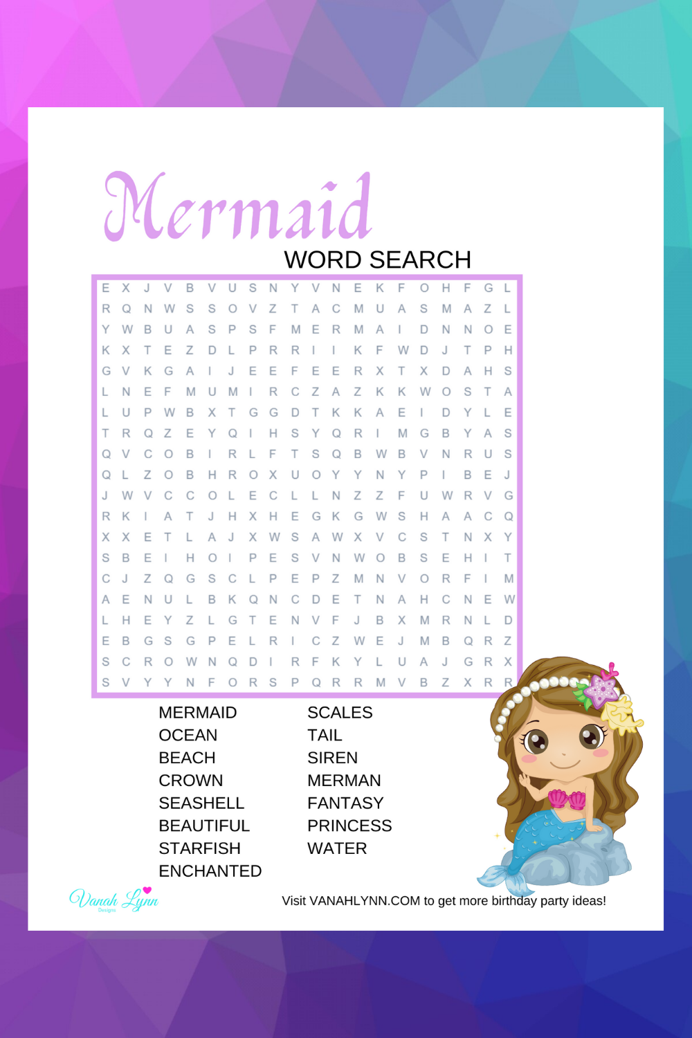 mermaid word search for little kids birthday party