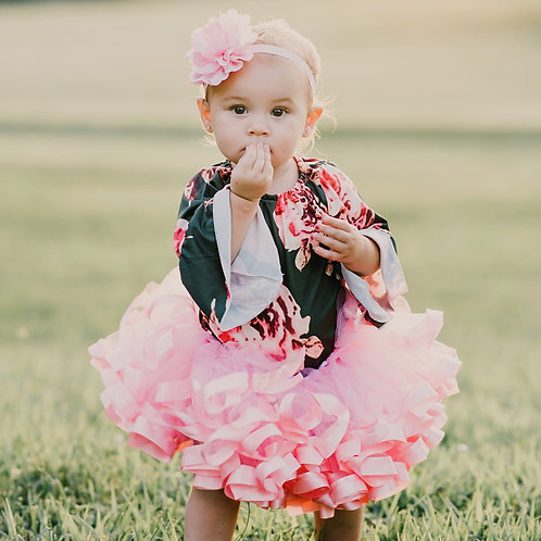 baby girl party outfit, pink tutu on a toddler girl
