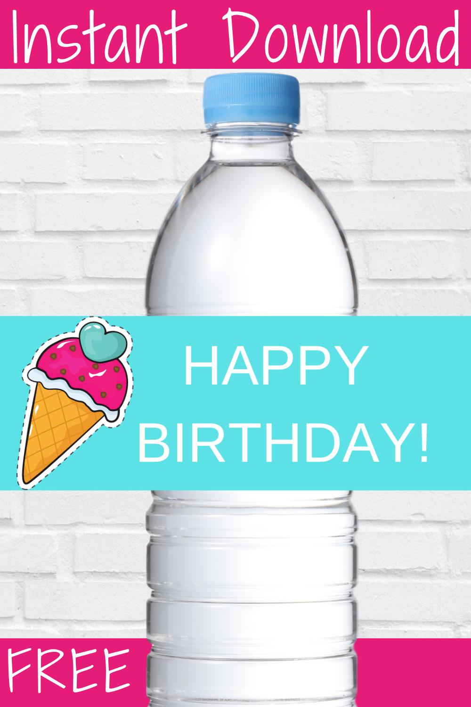 ice cream 1st birthday water bottle label for kids