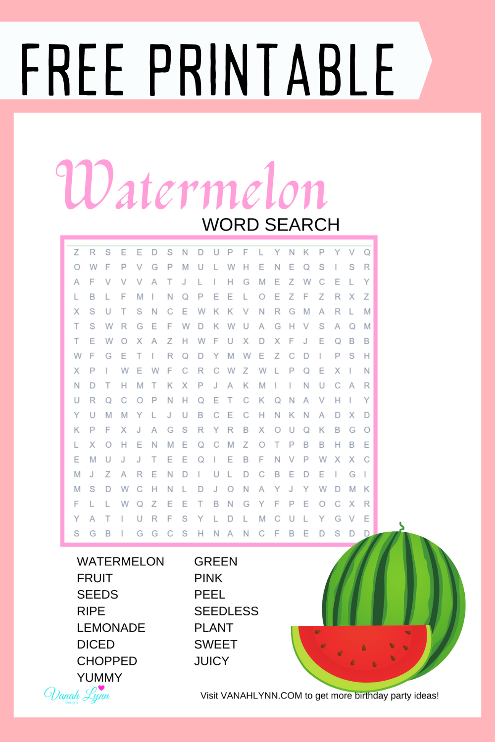 free download: watermelon birthday party activity