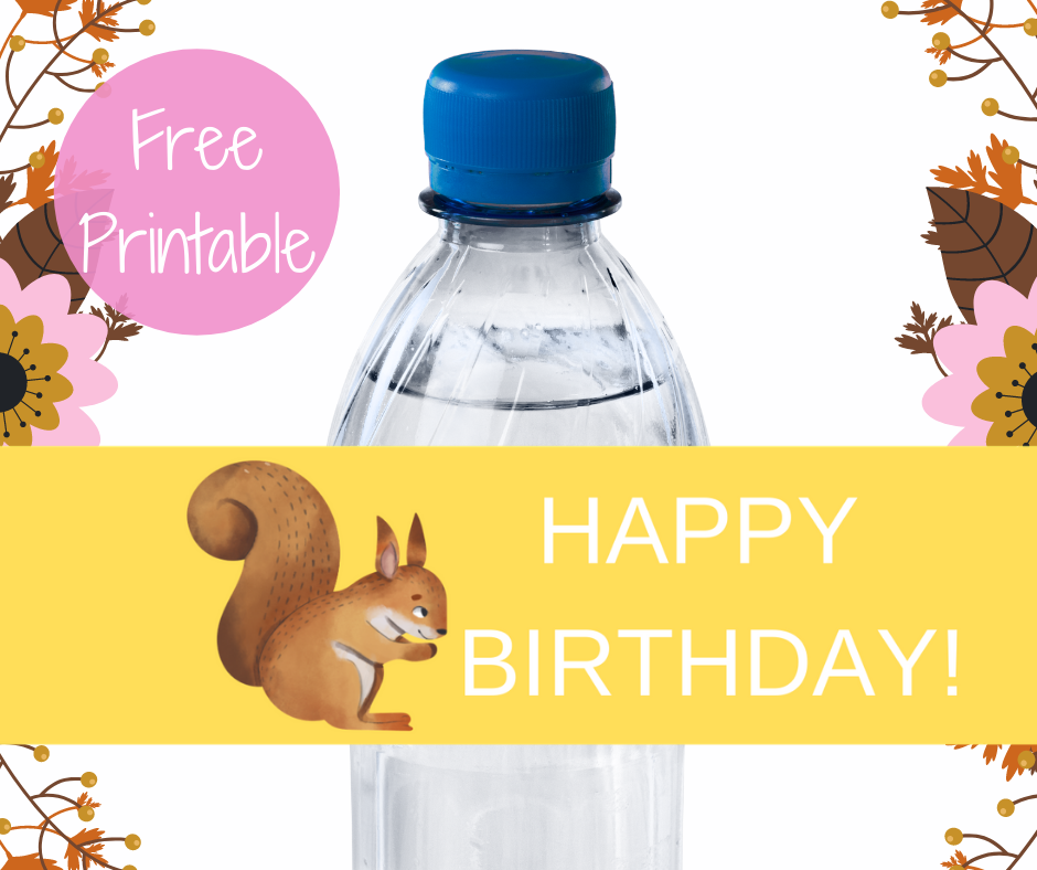 woodland animal water bottle label for kids birthday party