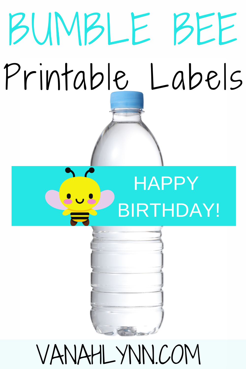 free download: bumble bee water bottle label for birthday party