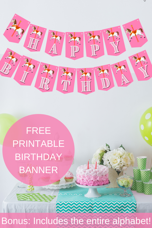 carousel themed birthday banner for little girls birthday party