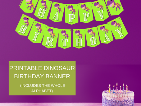 Dinosaur Happy Birthday Banner and Dinosaur Alphabet Banner | Dinosaur Themed Birthday Party Décor