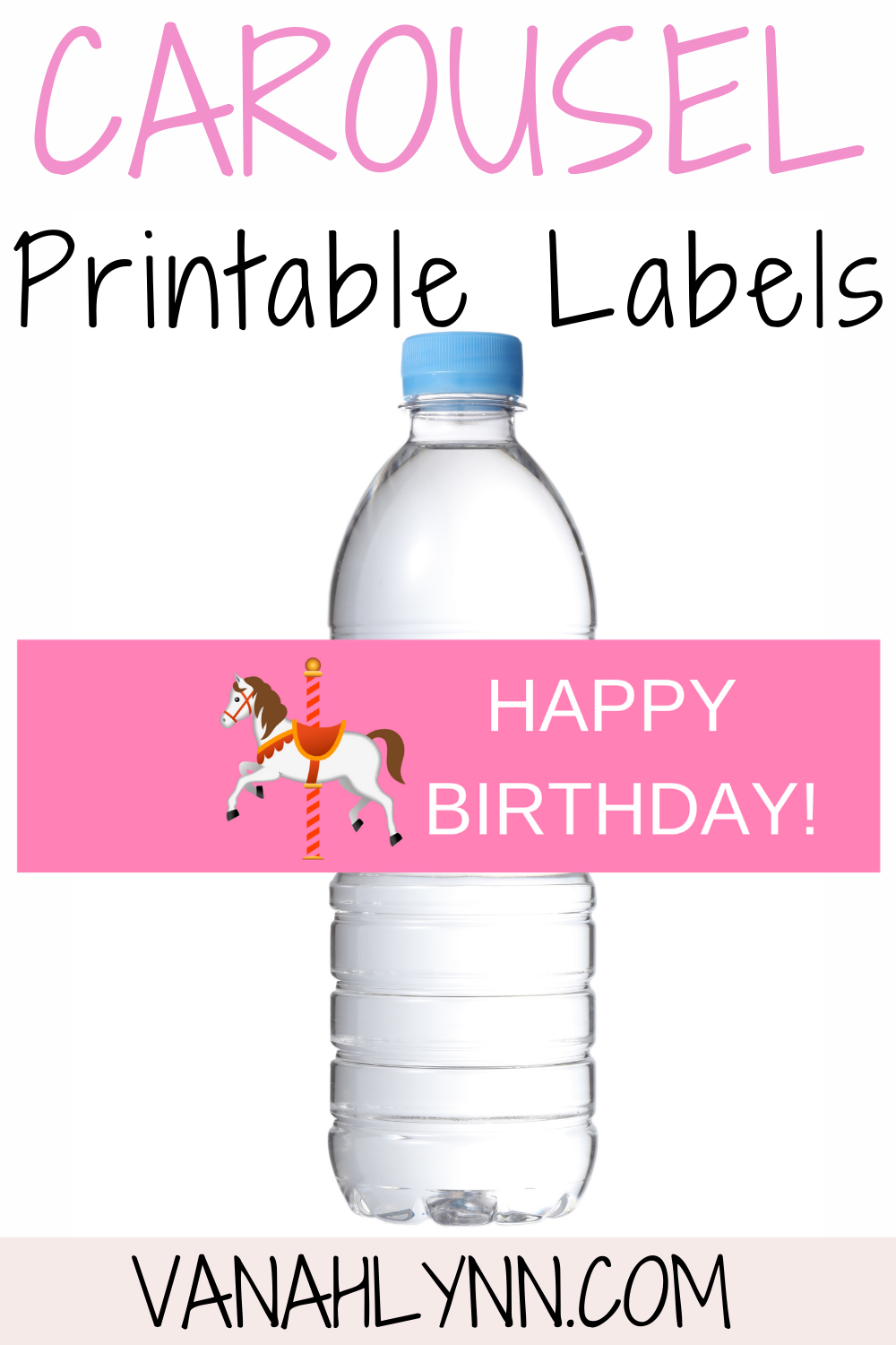free printable carousel water bottle wrapper for birthday party