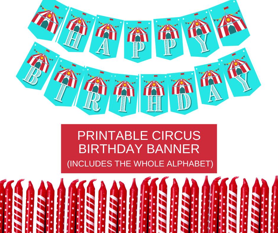 circus themed birthday banner