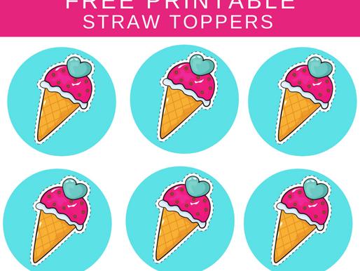 Ice Cream Straw Toppers | Free Printable Ice Cream Themed Birthday Party Ideas | DIY Ice Cream Décor