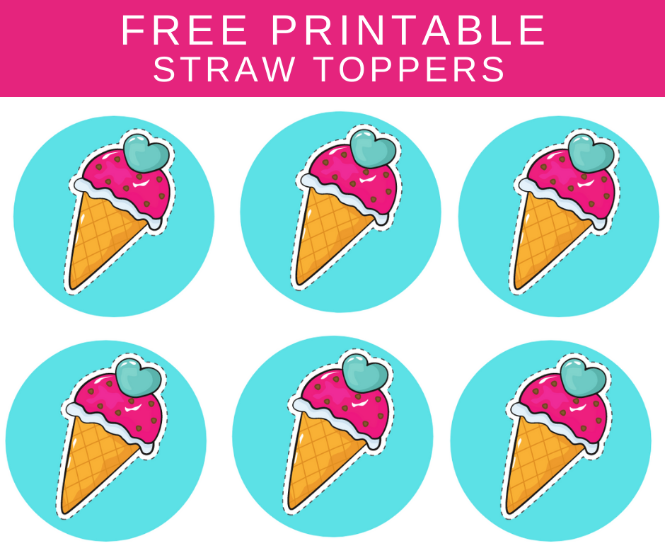 free printable ice cream straw toppers