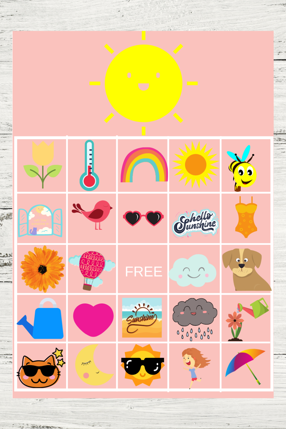 summer bingo game for a sunshine birthday party