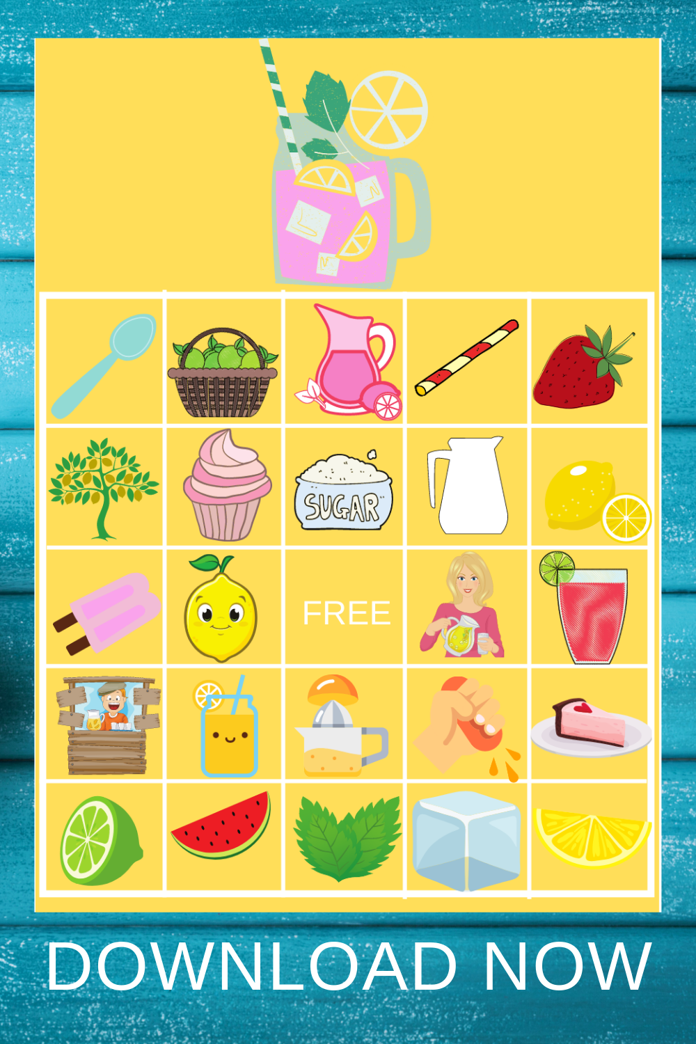 pink lemonade bingo game for a child's birthday party