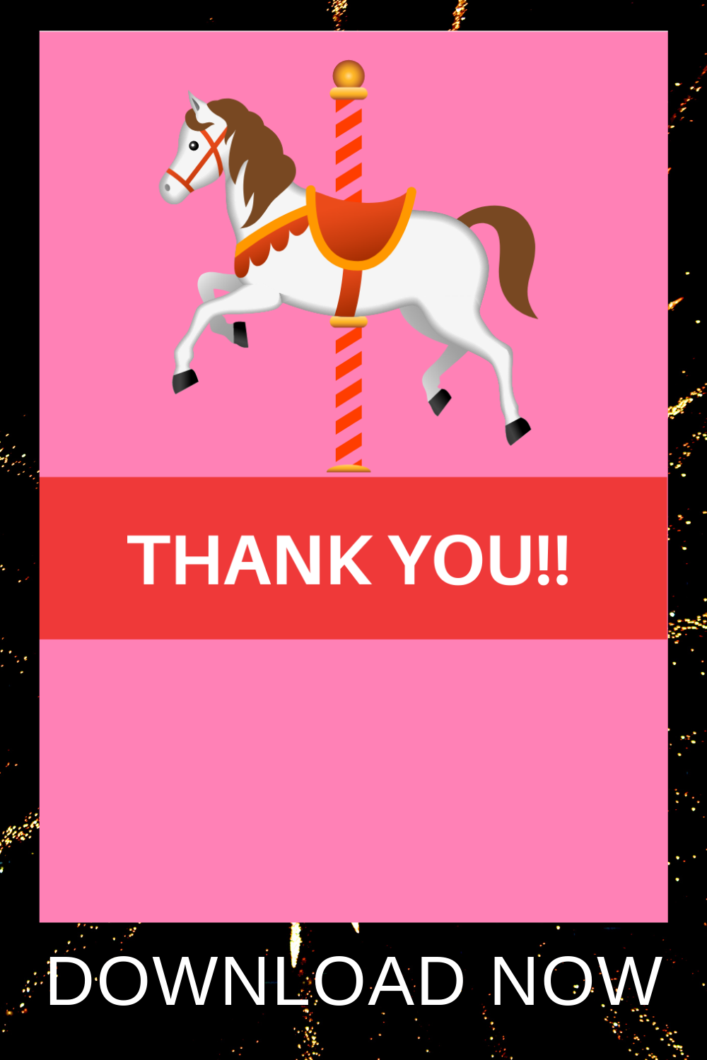 carousel thank you note for a carousel themed 1st birthday party