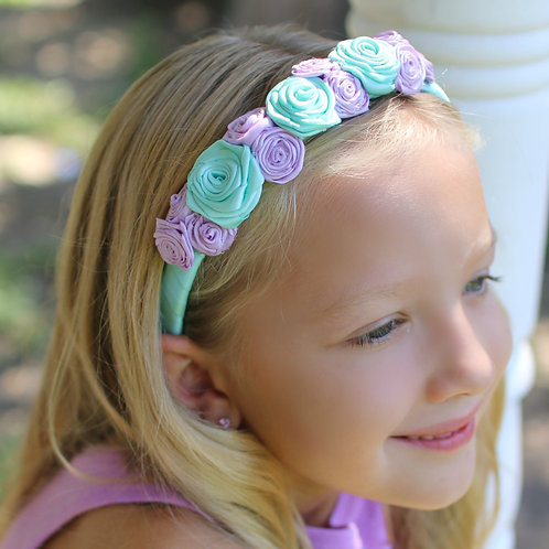 kids birthday party ideas, lavender and aqua flowered headband