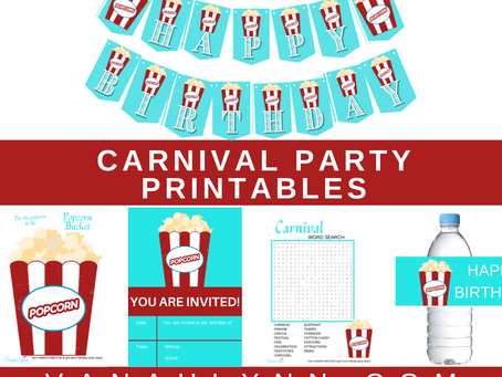 Carnival Party Kit | Free Printable Carnival Birthday Party Ideas | Carnival Themed Decorations