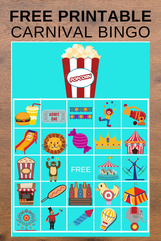 carnival themed birthday party bingo game board