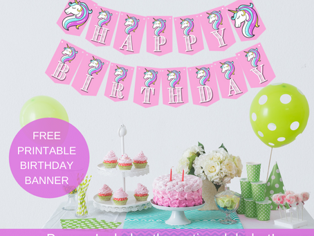Pink Unicorn Happy Birthday Banner and Pastel Unicorn Alphabet Banner | Rainbow Unicorn Decorations