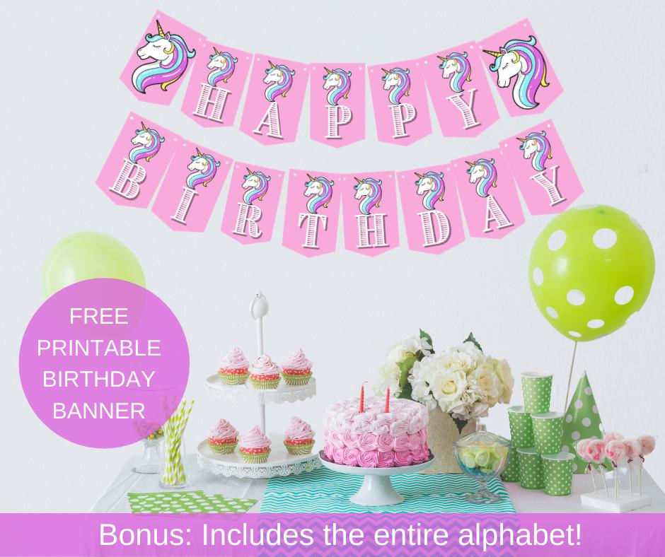 unicorn birthday banner for a little girls birthday party