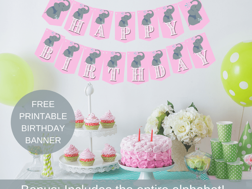Elephant Happy Birthday Banner and Elephant Alphabet Banner | Pink and Grey Birthday Party Décor