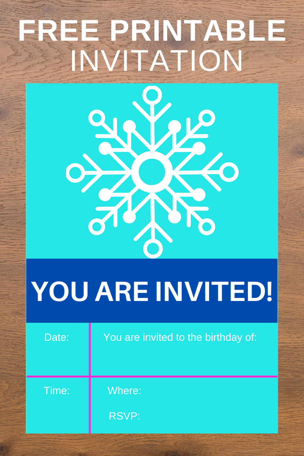 free download: winter birthday party invite for kids