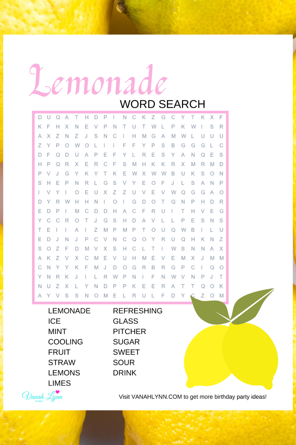 free download: lemonade birthday party activity pages