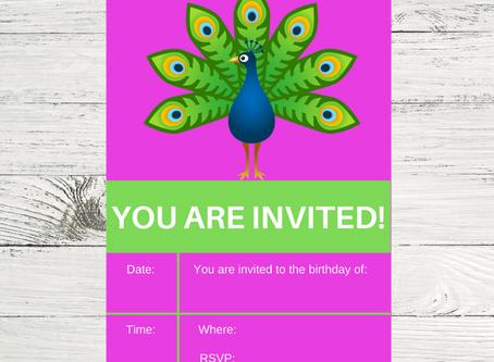 Free Printable Peacock Birthday Invitation