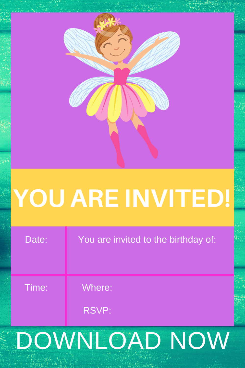 free download, fairy garden 5x7 themed birthday invite card