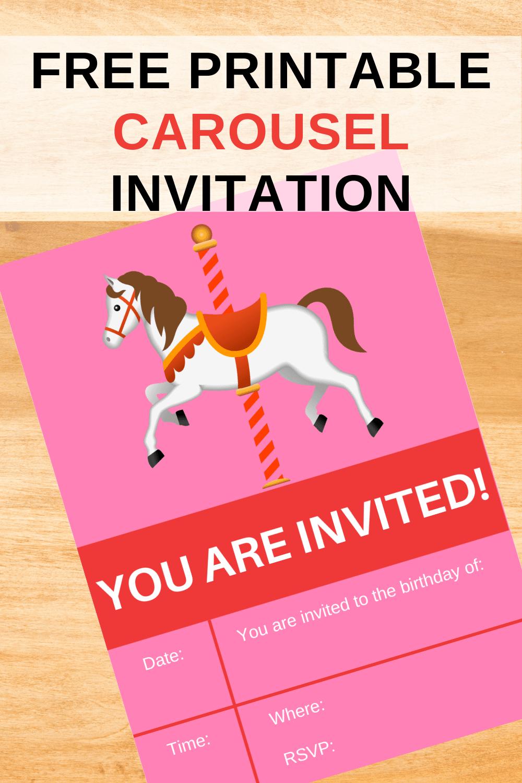 free printable carousel birthday invitations