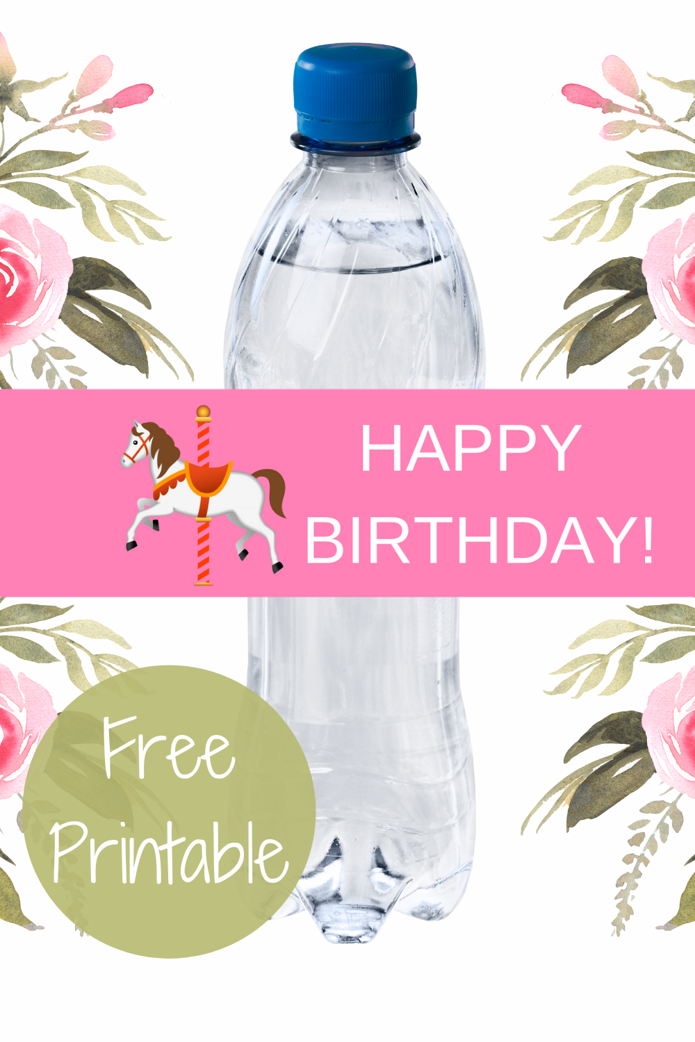 free download: carousel water bottle label for birthday party