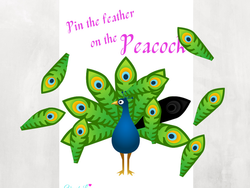 Pin the Feather on the Peacock | Free Printable Peacock Birthday Game