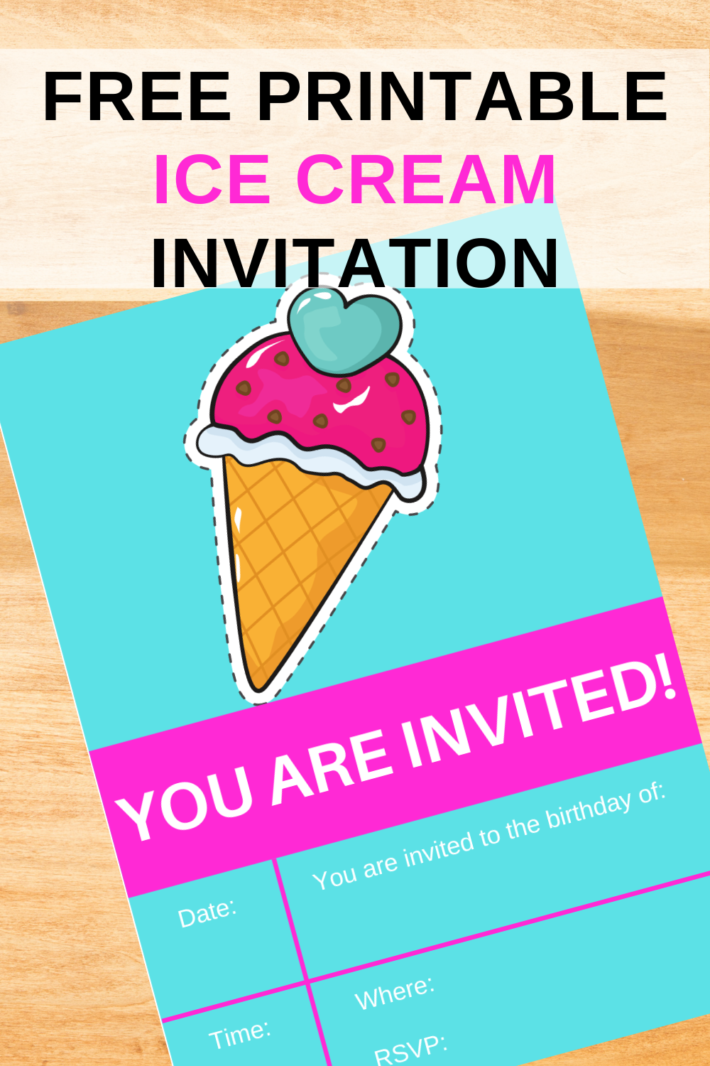 ice cream birthday party invite for toddlers