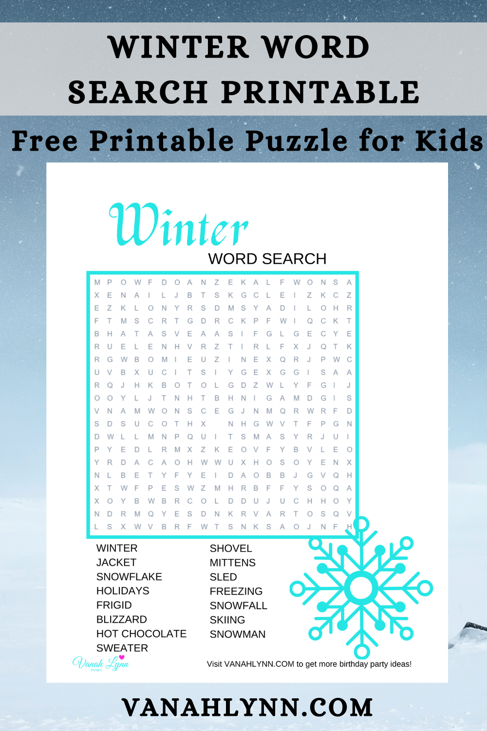 winter puzzle for a child's birthday party