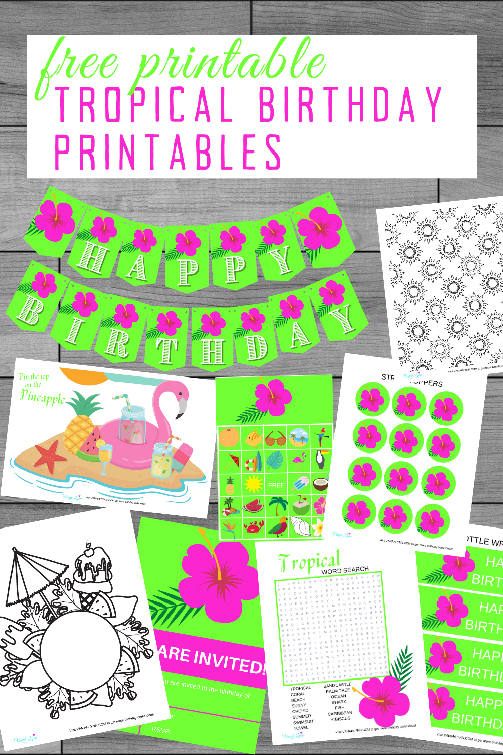tropical birthday party free printable ideas