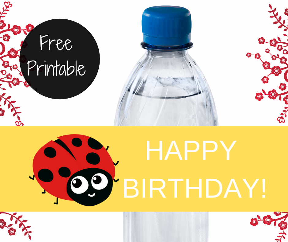 ladybug water bottle label for a kids birthday party
