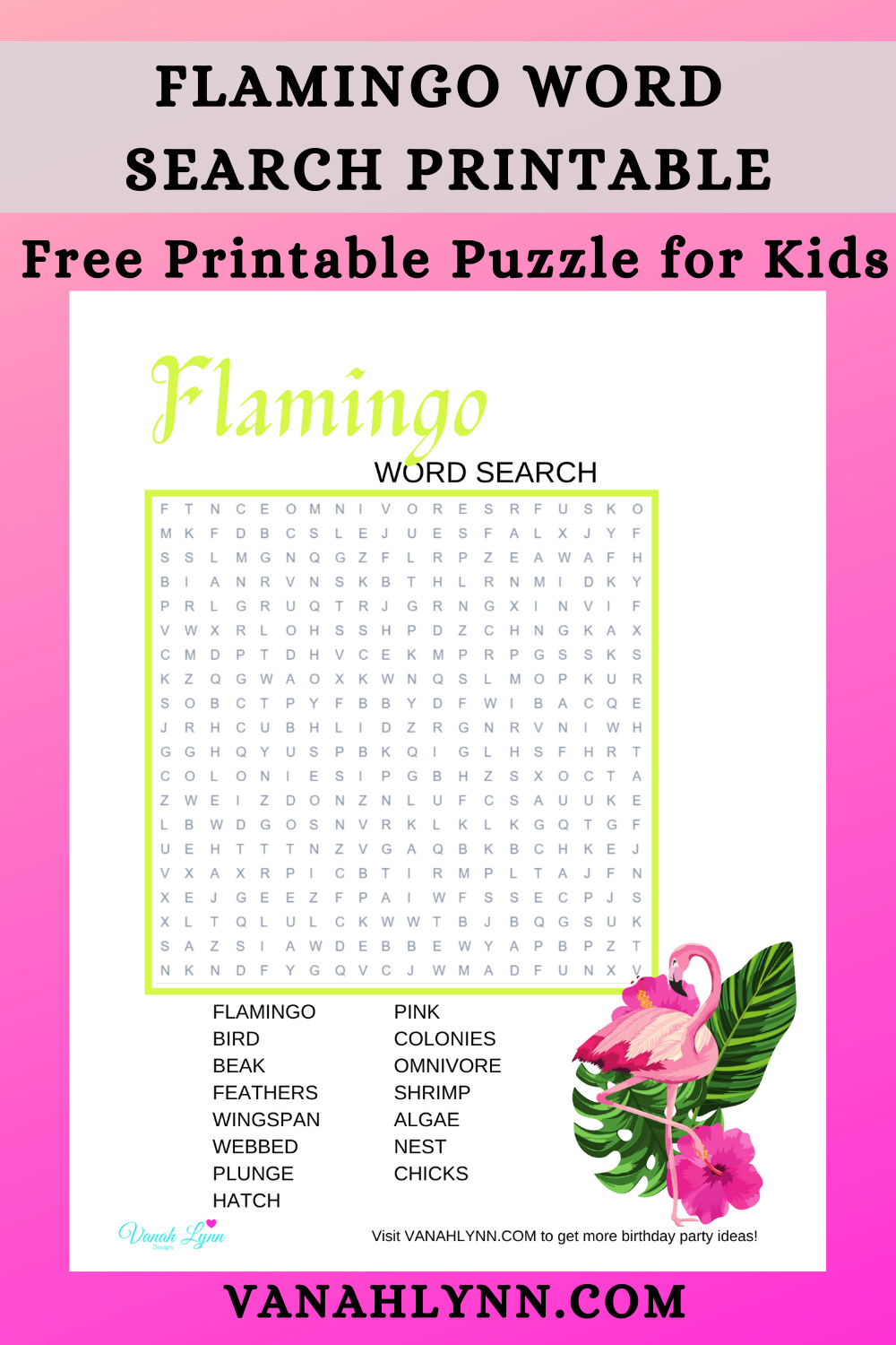 flamingo word search for a little girls birthday party