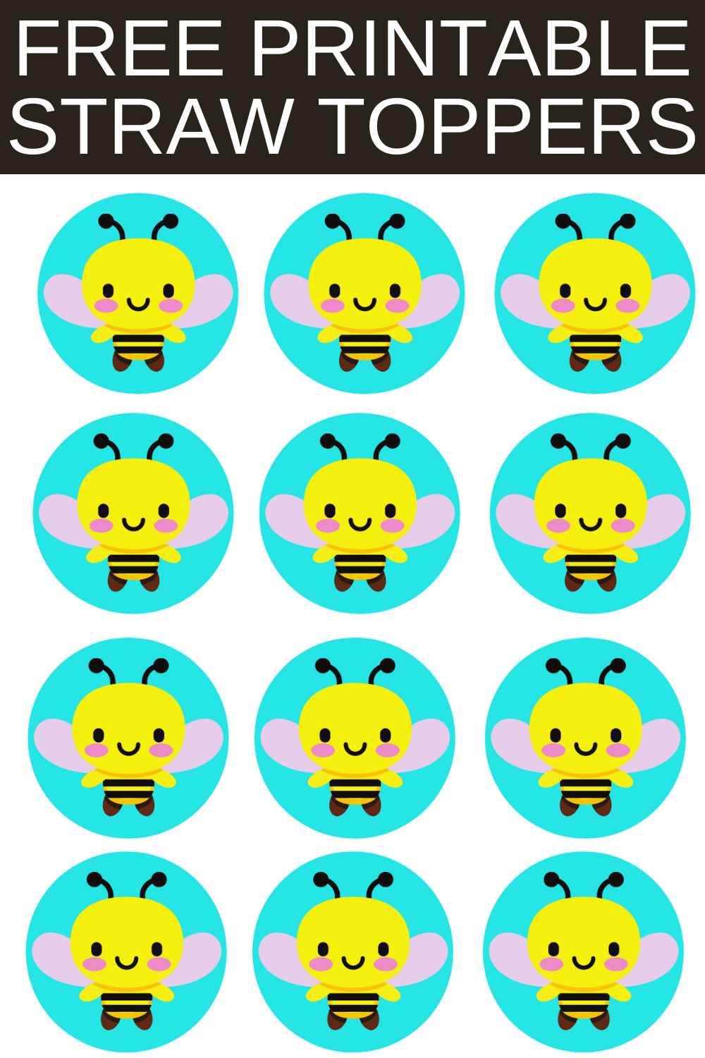 Free printable bumble bee straw toppers are a fun and easy way to add a little extra fun to your 1st birthday bumble bee themed birthday décor. Simply cut and print this free printable bumble bee party idea. Then tape the circle to a fun straw. These can also be used as a cupcake topper. Be sure to save this cute bumble bee cupcake idea for later use.