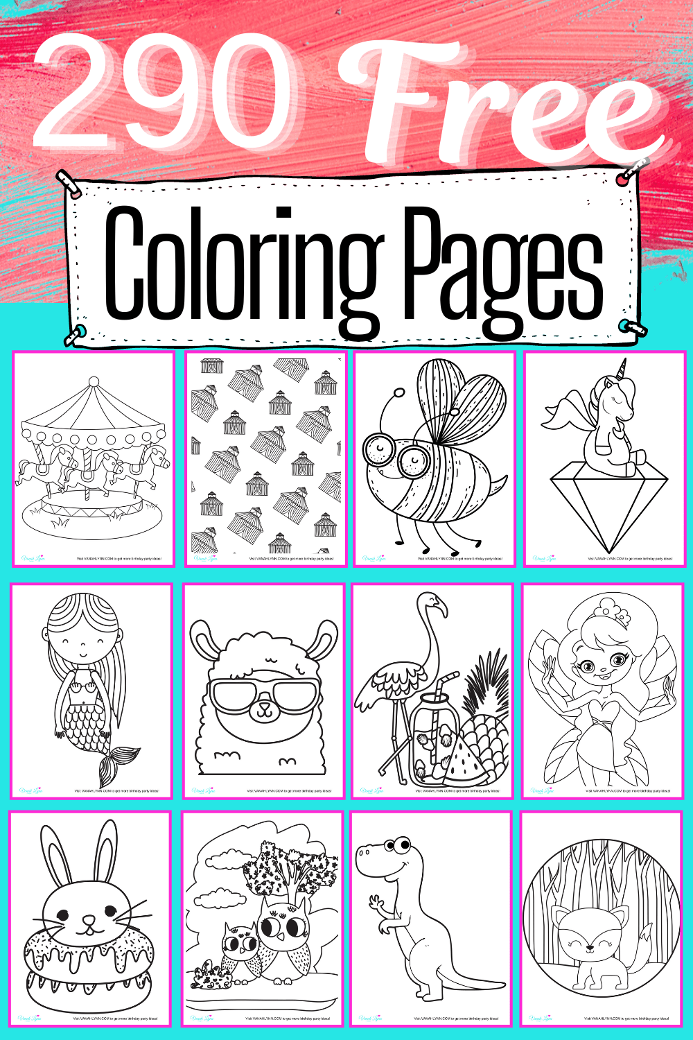 coloring pages for girls kids- 290 page set