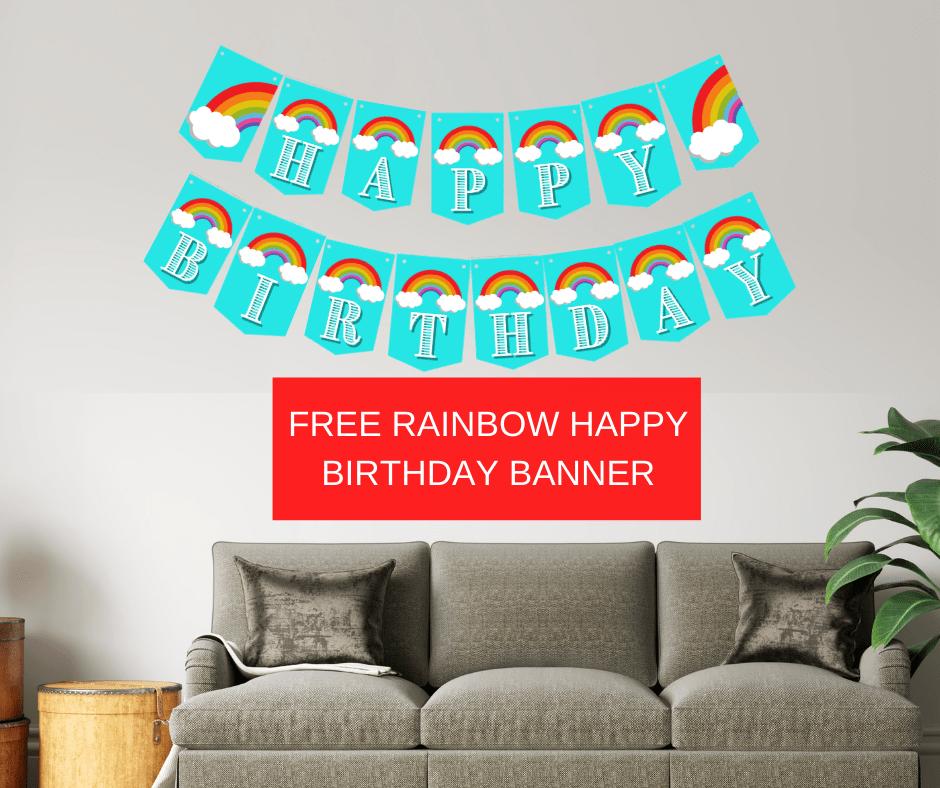 rainbow birthday banner printable free